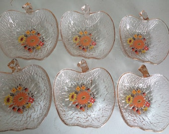 Vintage glass apple shaped bowls perfect for dessert.