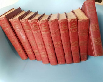 Vintage Encyclopedia Set from 1942; Crimson Red & Gold Vintage Books; New Standard Encyclopedia; Chicago; Standard Education Society