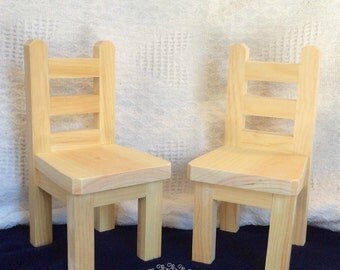 """Two 18"""" Doll Chairs - Unpainted"""