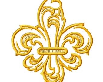 Fleur De Lis Gold fill Embroidery Design file 3 sizes Instant Download
