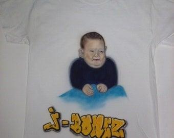 Airbrushed Custom Portrait Tshirt or hoodie, Airbrush art, shirts