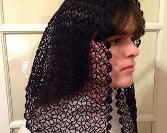 Felicity Motif Crocheted Catholic Chapel Veil in Navy Blue