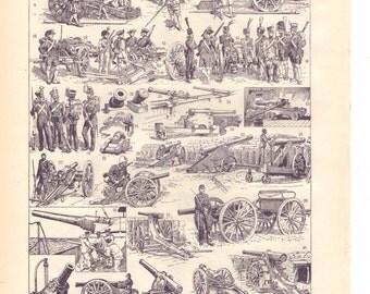 "Vintage ""Artillery"" 1930's French dictionary illustration / Digital download"
