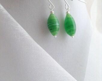 Gorgeous Green Swirl Czech Glass Dangle Earrings