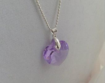 Swarovski SALE ~ Lush Lilac Heart Swarovski Pendant and 925 Sterling Silver Ball Chain Necklace