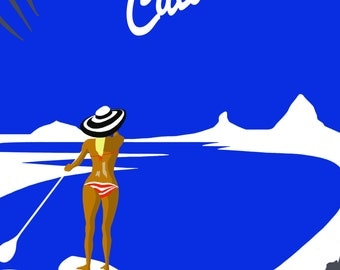 SUP! Retro Graphic Art Piece Paddleboarder on Sunshine Coast, Australia