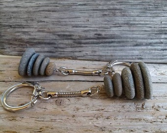 Cairn stack key chains, Zen stones, Fathers day gift, gift for him, gift for her, treat myself, stacked stone key chain, beach key chain