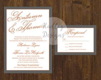 Fall Wedding Invitation, Grey wedding invitation, Burnt Orange wedding invitation, Country wedding invitation, Western wedding invitation