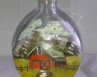 Vintage Hand Painted Corked Glass Bottle, Barn Scene, Signed KRAS, Rustic Country House
