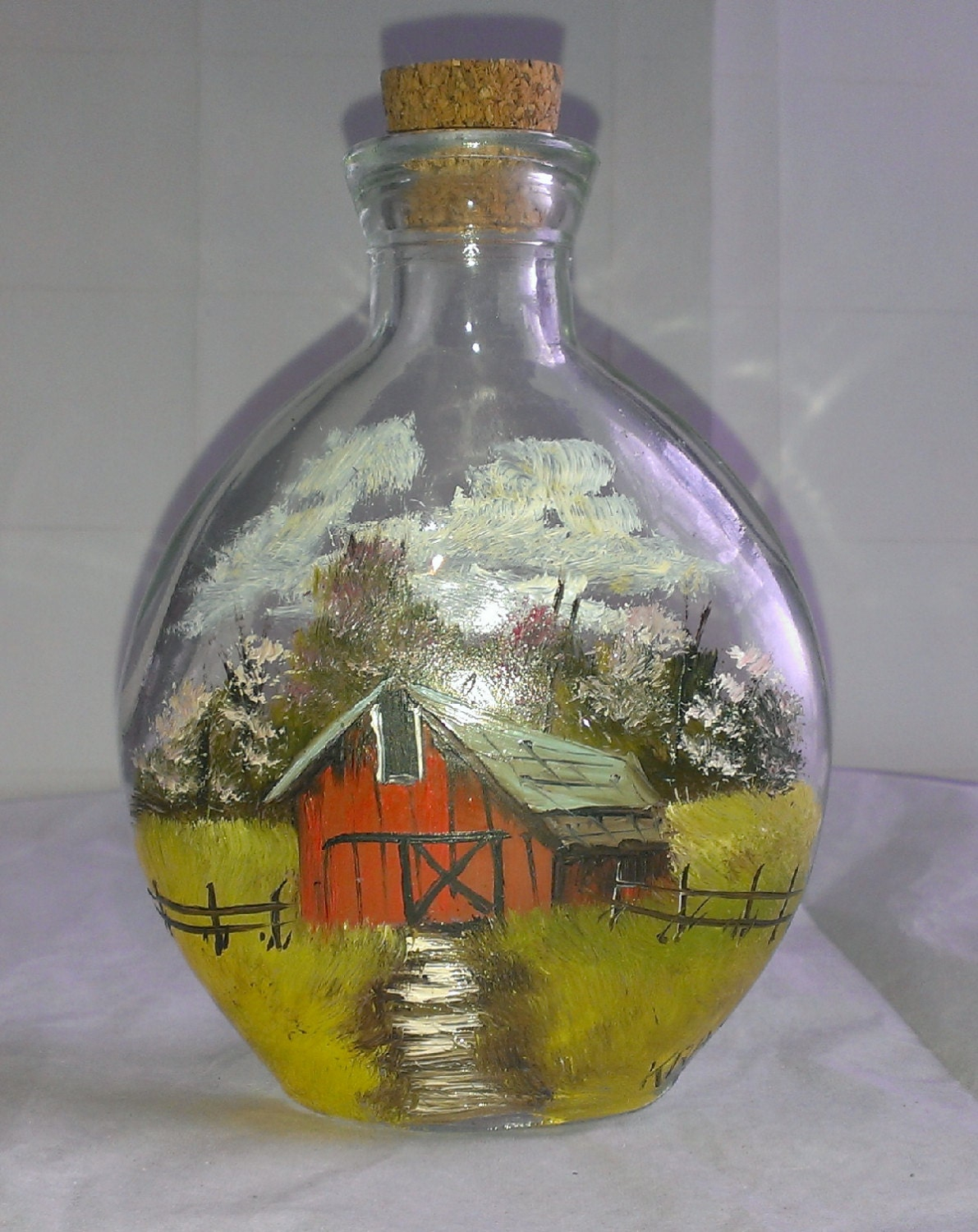 Vintage hand painted corked glass bottle barn scene signed Painting old glass bottles