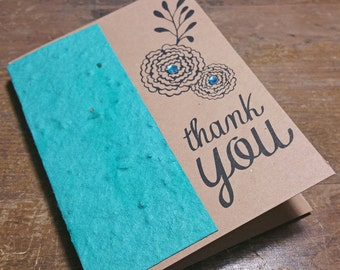 """CUSTOMIZABLE plantable card - """" thank you """" - Seed paper - Grows flowers - Recycled"""