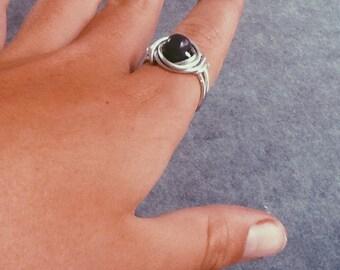 purple beaded wrap-around ring