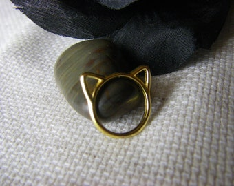 Crazy Cat Lady Ring, Gold Cat Ear ring , Free Shipping