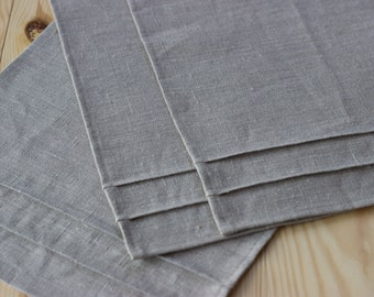 Natural linen placemat set of 4-12 gray  placemats, table placemat, dinning placemats, table decor, table serving, rustic placemats