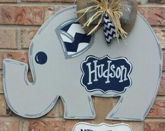 Hush little baby, eleohant door hanger, baby boy door hanger, elephant nursery decoration, baby shower, gender reveal.