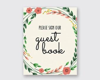 Guest book sign, Wedding guest book sign, Guest book sign printable, Wedding sign - INSTANT DOWNLOAD- C017
