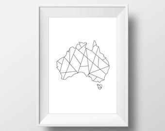 Australia, Australian Map, Geometric Map, Australia Print, Map Art, Geometric Print, Map Print, Australian Art, Geometric Decal, Printables
