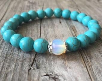 Gemstone bracelet, Woman beaded stretch stacking bracelet, Gemstone jewelery, Bohemian bracelet, Boho bracelet, handmade blue woman bracelet