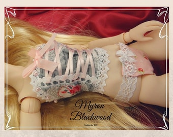 Bjd Obitsu 50cm. Rose top in Grey, White and Pink. Last chance! Ends august 30.