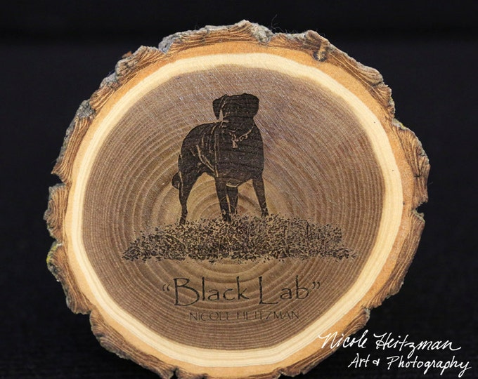 Father's Day Gifts for men Black Lab Art Lab coaster Wood Art Black Lab Coaster Man Cave Decor dog Coaster Wood Coasters by Nicole Heitzman