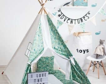 Ocean Teepee - tipi - Fabric Play Tent Teepee Playhouse with windows