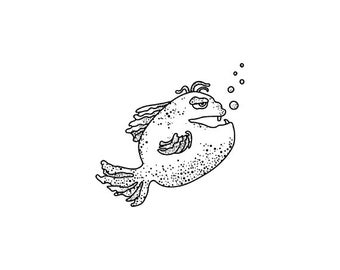 EZ Mounted Rubber Stamp Chubby Fantasy Fish Altered Art Craft Scrapbooking Cardmaking Collage Supply