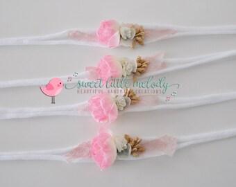 Pink Flower Headband, Newborn Tiebacks, Newborn Headband, Newborn Photo Prop, Baby Prop Tieback, Baby Girl Headband, Baby Headband, Girls