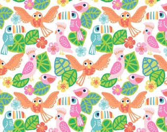 See You Later - Birds Of Paradise Fabric - White - Sold by the 1/2 Yard