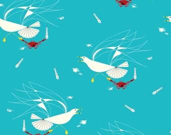 Charley Harper Maritime - Seagull and Crab Organic Fabric - Aquamarine - sold by the 1/2 yard