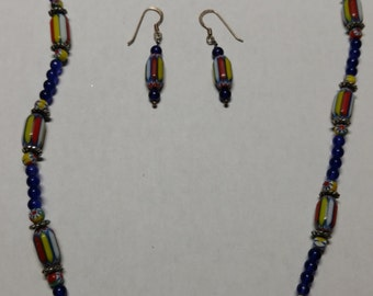 Colorful beaded necklace and earrings