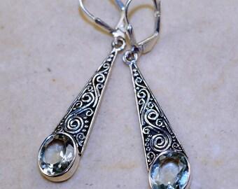 Green Amethyst & 925 Sterling Silver Earrings by Silver Trend