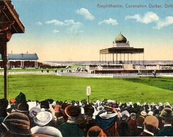 Amphitheatre, Coronation Durbar, Delhi, India: Vintage Postcard