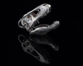 Tyrannosaurus Skull Pendant, sterling silver, handmade ..... dinosaur skull pendant, dinosaur skull necklace