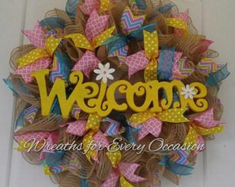 Burlap ruffle Welcome Spring wreath