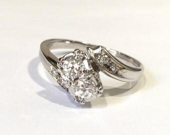 Two Stone Diamond 1940's Engagement Ring, 14K White Gold Old European Cut Diamond Anniversary Ring