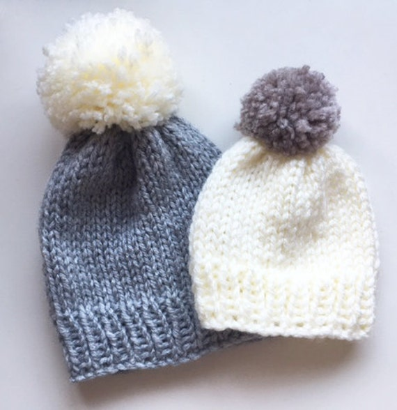 Knitted Super Chunky Bobble Hat Pattern, pom pom hat ...