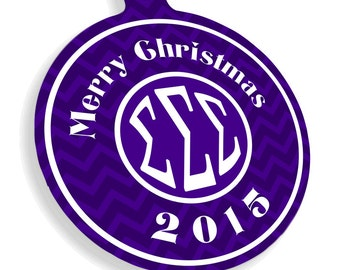 Sigma Sigma Sigma Chevron Christmas Ornaments