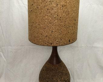 Cork lampshade etsy large cork teak table lamp retro mod mid century modern lampshade 70s aloadofball Choice Image