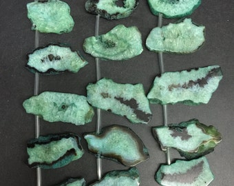 Approx13pcs Natural drusy druzy Agate green geode slice,freeform raw Agate slab nugget,Top drilled pendant 18-60x18-34mm