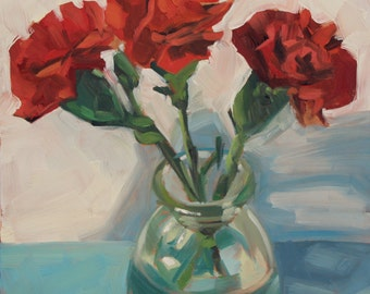 3 Red Carnations- Original Oil Painting on 6x6 inch gessobord