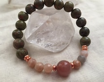 Unakite, Faceted Sunstone, Sunstone, Beaded Bracelet, Mala Bracelet, Yoga Bracelet, Bohemian Bracelet, Boho Bracelet, Women's Bracelet