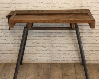 Vintage wooden work bench - console table