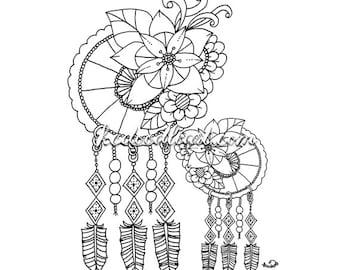 Instant Digital Download Adult Coloring Page Snail Doodle