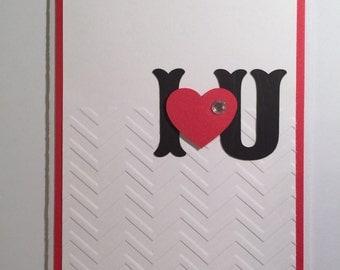 Handmade I (heart) U Valentine Card, Love, Valentine