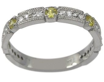 Sapphire Wedding Band In 14k White Gold With Yellow Sapphire & Diamond Accents
