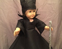 Homemade Doll Halloween Costume Fits 18 Inch Soft Body Dolls Like American Girl Dolls: Dark Queen Costume Sewn From A Wendy Burton Pattern