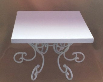 """SCROLLED METAL CAKE Stand Square White Featuring Solid Wood Base All Colors Sizes  10"""", 12"""", 14"""", 16"""", 18"""""""