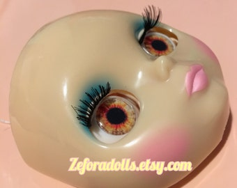 Realistic Light Brown And Red Soft Resin Eye Chips For Blythe (14 mm)