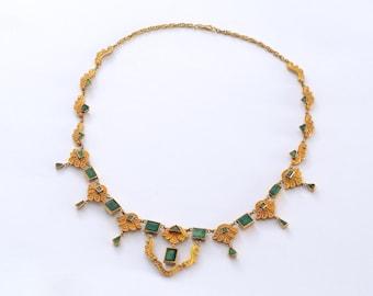 18k Art Nouveau emerald necklace