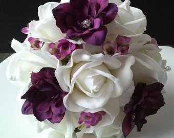 Purple and White Toss Away Bouquet-Real Touch Rose Bouquet-Plum and White Wedding Bouquet-Bridal Toss bouquet